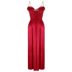 1970s Bill Tice Red Liquid Velvet Ruched Ruffle Maxi Dress