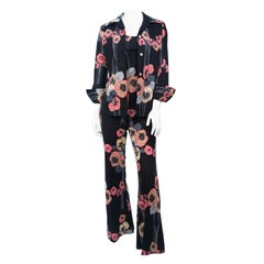 1970s Black 3-piece Set  with Stripe and Floral Pattern