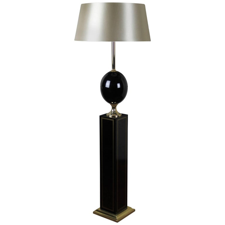 1970s Black And Gold Floor Lamp Maison Barbier Style For