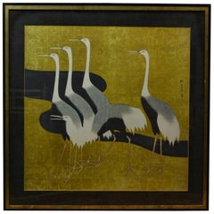 1970s Black and Gold Framed Japanese Artwork with Japanese Heron Birds