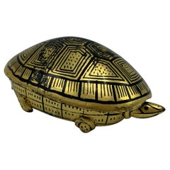 1970s Black and Gold Lacquered Turtle Box