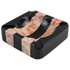 1970s Black and Pink Marble Cigar Ashtray Desk Tidy Catchall
