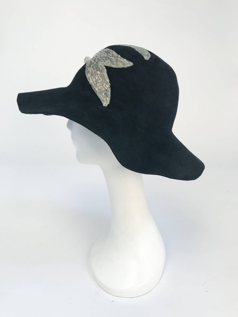 Black and Silver Appliqué wide brimmed hat, 1970s  In Good Condition For Sale In San Francisco, CA