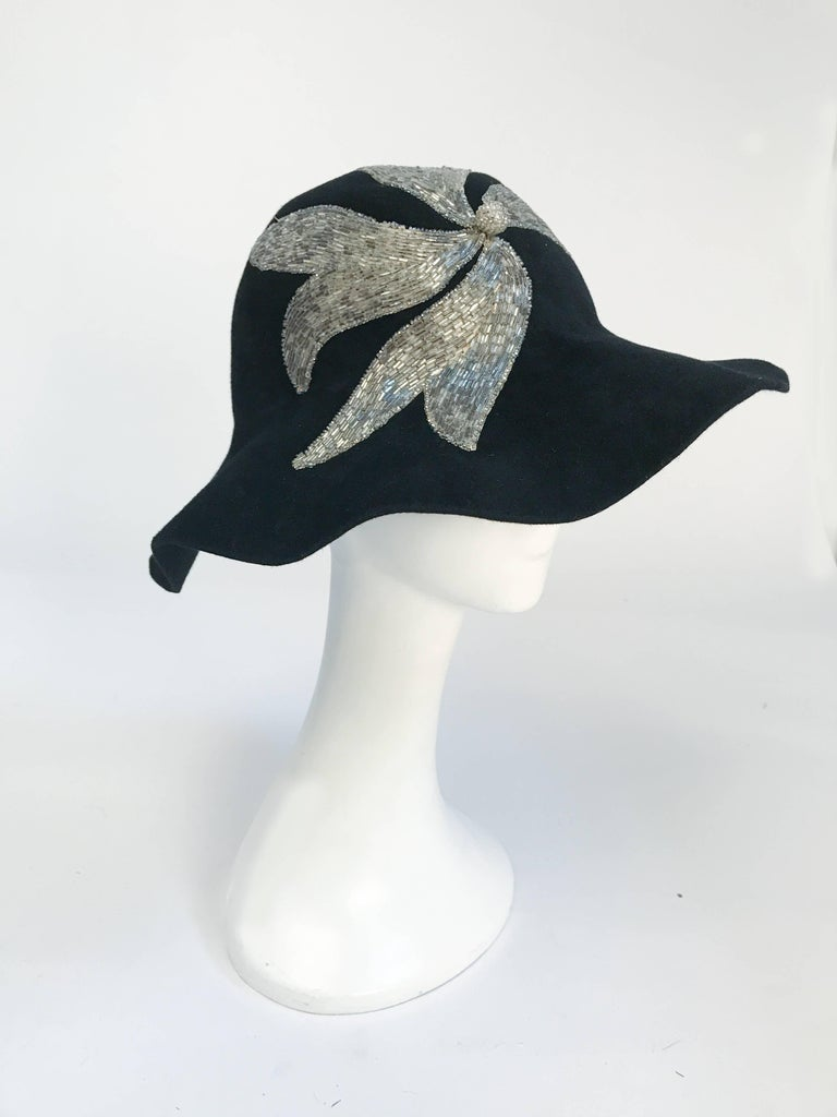 Women's Black and Silver Appliqué wide brimmed hat, 1970s  For Sale