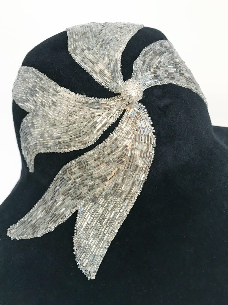 Black and Silver Appliqué wide brimmed hat, 1970s  For Sale 2