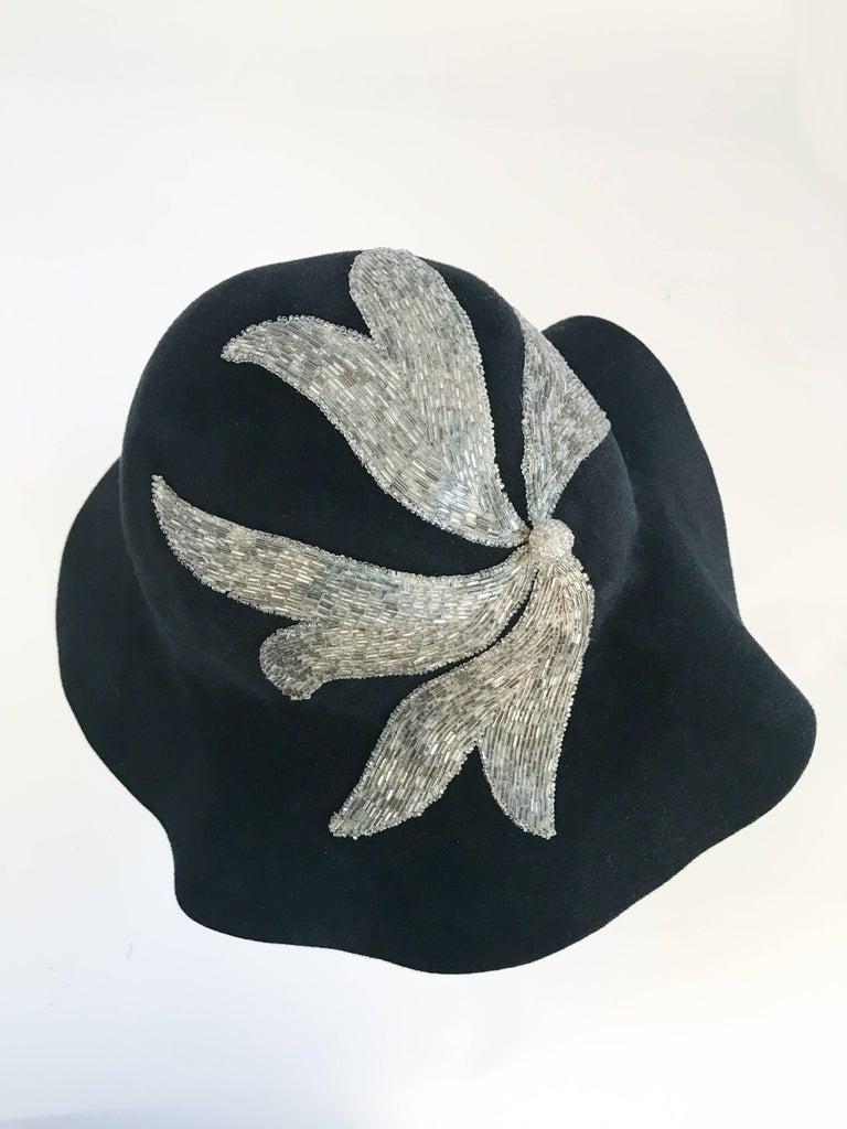 Black and Silver Appliqué wide brimmed hat, 1970s  For Sale 3