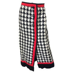 1970s Black and White and Red Houndstooth Striped Vintage 70s Maxi Skirt