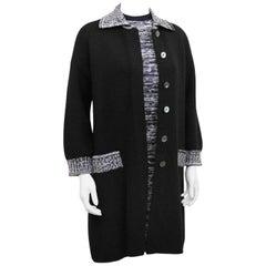 1970s Black and White Marled Knit Jacket & Dress Emsemble