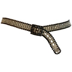 1970s Black and White Rhinestone Belt