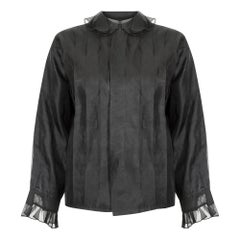 1970s Black Chiffon Ruffle Collar Blouse