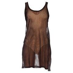 1970S Black Cotton Net Tank Top Shirt