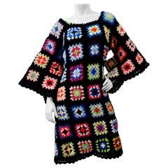 1970s Black Crochet Angel Wing Midi Dress