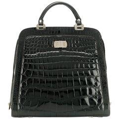 1970s Black Crocodile Skin Tote Bag