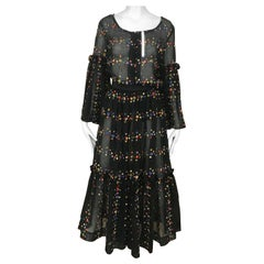 1970s Black Embroidered Cotton Blouse and Skirt set
