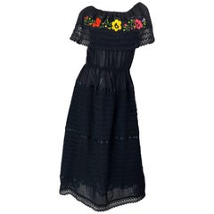 1970s Black Embroidered Crochet Flowers Vintage 70s Mexican Maxi Dress
