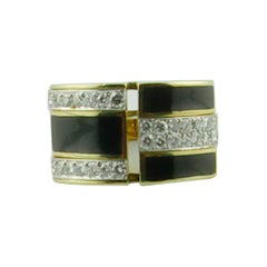 1970s Black Enamel Diamond Gold Ring