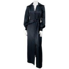 1970s Black Estevez Satin Dress Coat