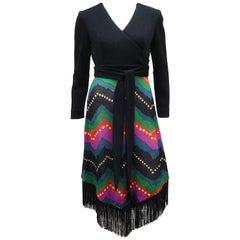 1970's Black Fringe Disco Party Dress