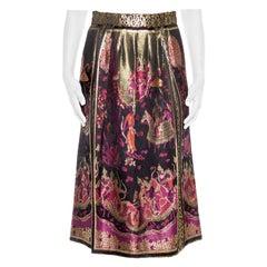 1970S Black & Gold Asian Rayon Lurex Brocade Skirt