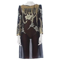 1970S Black & Gold Rayon Lurex Chiffon Sheer Cocktail Dress