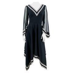 1970s Black Handkerchief Hemmed Dress