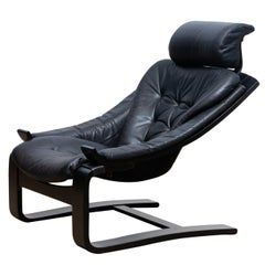 1970s, Black Kroken Lounge Chair By Age Fribytter for Nelo Sweden In Leather.