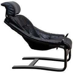 1970s, Black 'Kroken' Lounge Chair by Ake Fribytter for Nelo Sweden in Leather