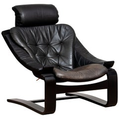 1970s, Black Kroken Lounge Chair by Ake Fribytter for Nelo Sweden in Leather