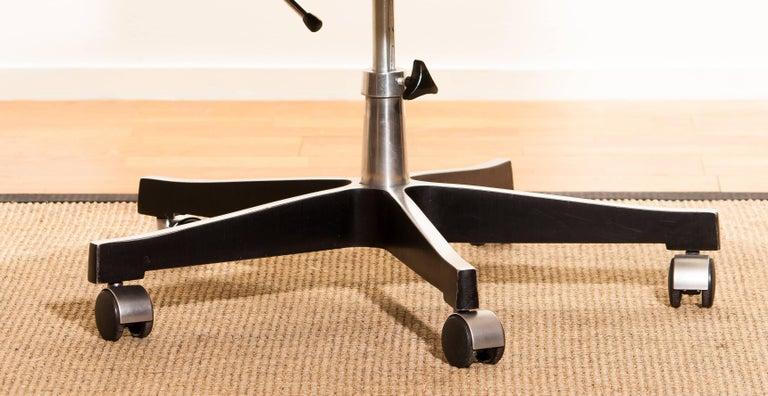 1970s, Black Leather and Aluminum Desk Chair by Karl Erik Ekselius for Joc 5