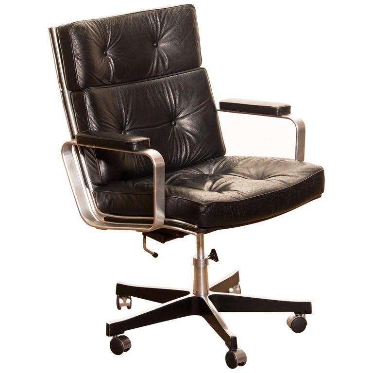 Swedish 1970s, Black Leather and Aluminum Desk Chair by Karl Erik Ekselius for Joc