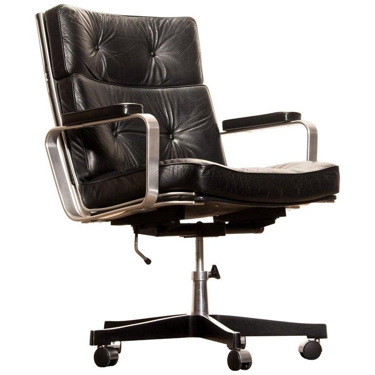 1970s, Black Leather and Aluminum Desk Chair by Karl Erik Ekselius for Joc