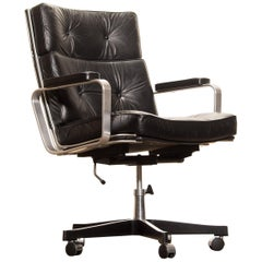 1970s, Black Leather and Aluminium Desk Chair by Karl Erik Ekselius for JOC