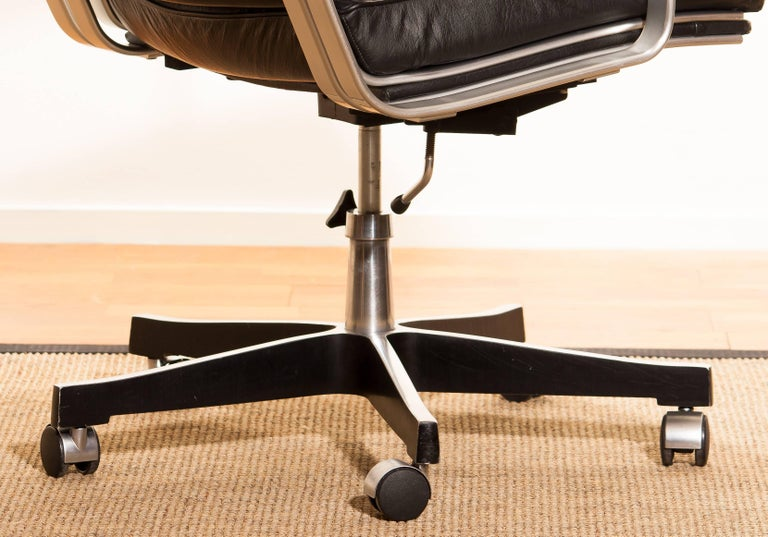 1970s, Black Leather and Aluminum Office Chair by Karl Erik Ekselius for JOC. 5