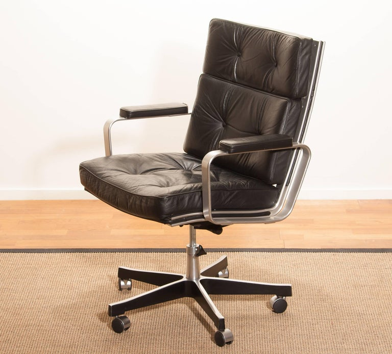 Swedish 1970s, Black Leather and Aluminum Office Chair by Karl Erik Ekselius for JOC.