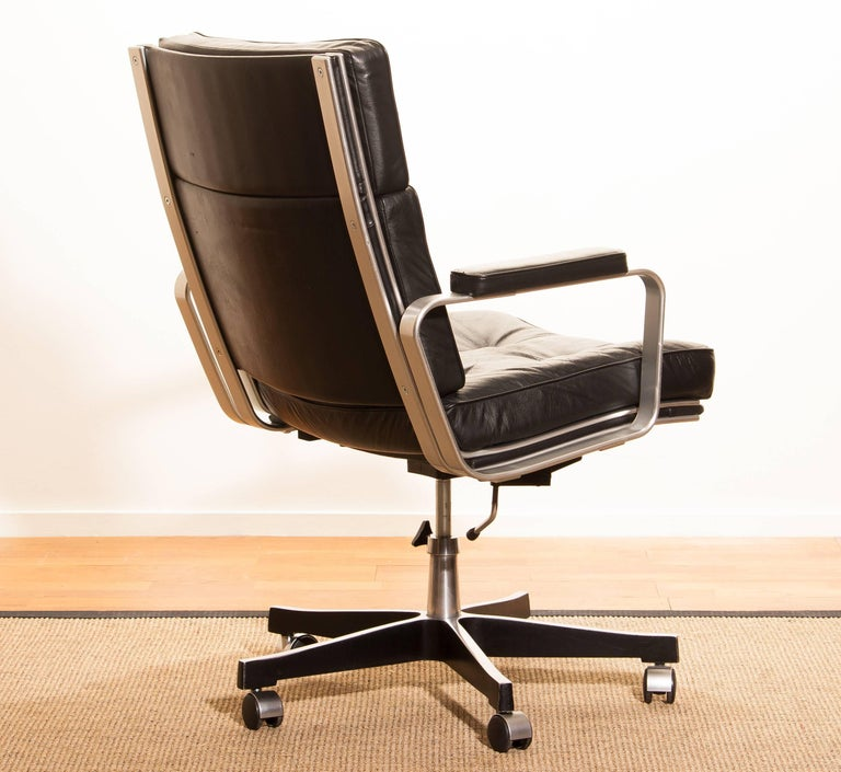 Late 20th Century 1970s, Black Leather and Aluminum Office Chair by Karl Erik Ekselius for JOC.