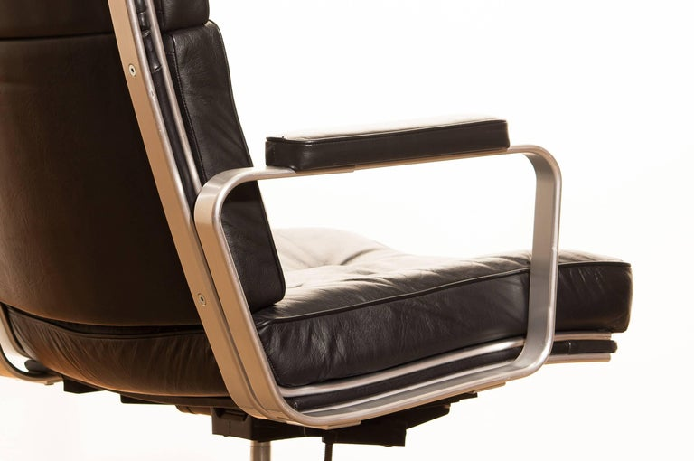 1970s, Black Leather and Aluminum Office Chair by Karl Erik Ekselius for JOC. 1