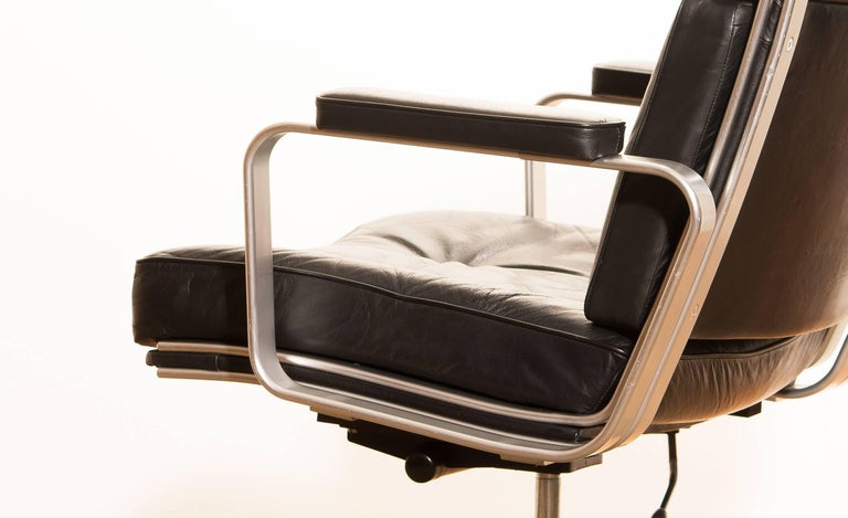 1970s, Black Leather and Aluminum Office Chair by Karl Erik Ekselius for JOC 2