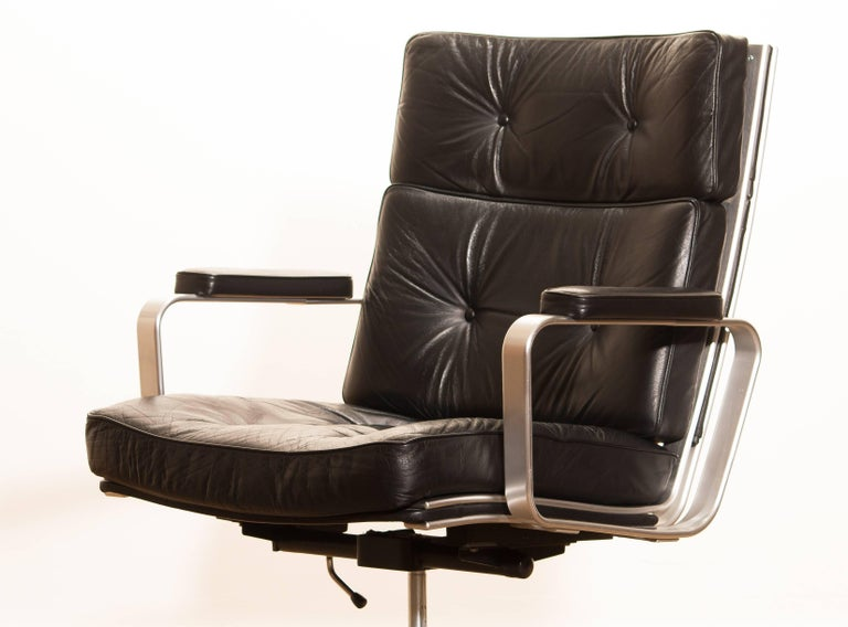 1970s, Black Leather and Aluminum Office Chair by Karl Erik Ekselius for JOC 3