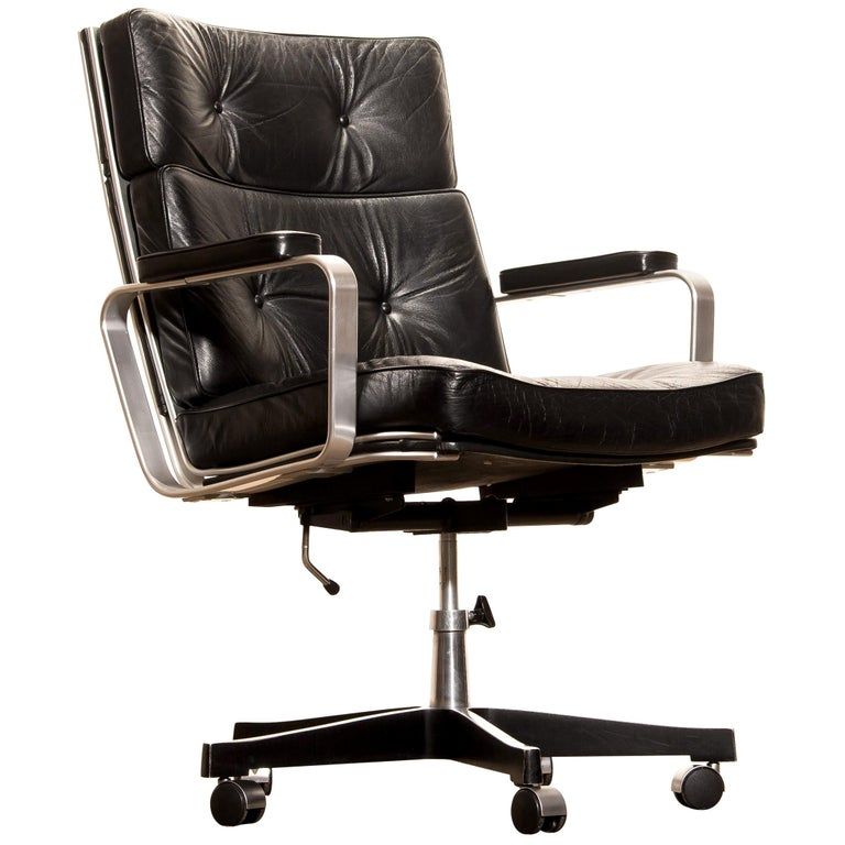 1970s, Black Leather and Aluminum Office Chair by Karl Erik Ekselius for JOC.
