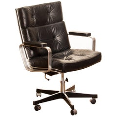 1970s, Black Leather and Aluminum Office Chair by Karl Erik Ekselius for JOC
