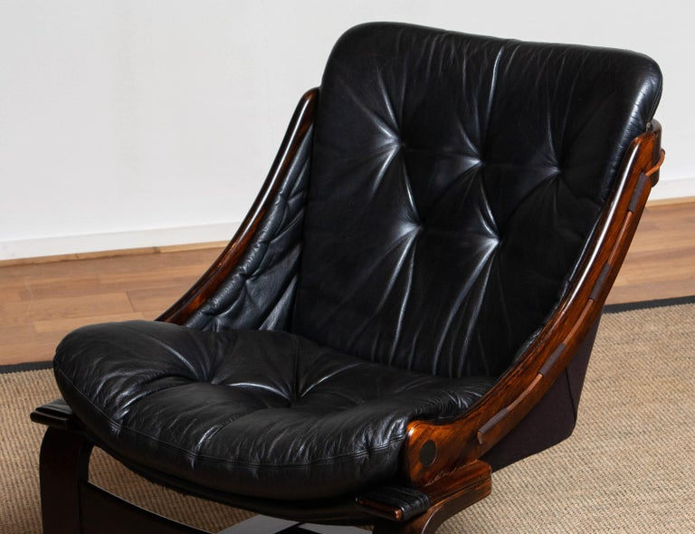 1970's Black Leather Club / Lounge Chair by Ake Fribytter for Nelo Mobel Sweden 4
