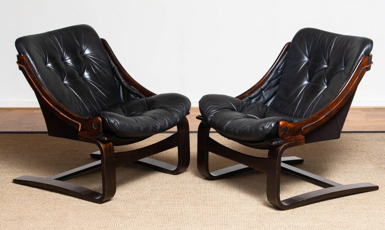 1970's Black Leather Club / Lounge Chair by Ake Fribytter for Nelo Mobel Sweden 5