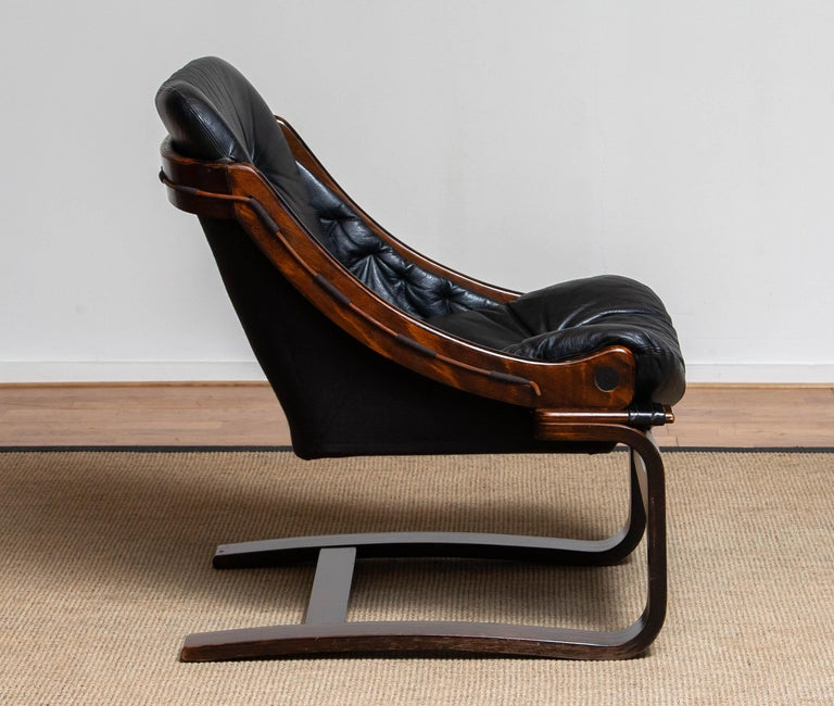 Scandinavian Modern 1970's Black Leather Club / Lounge Chair by Ake Fribytter for Nelo Mobel Sweden