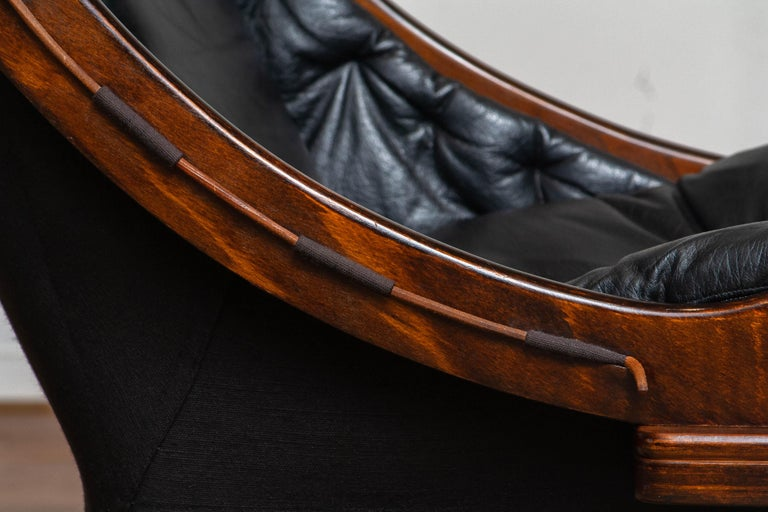 Swedish 1970's Black Leather Club / Lounge Chair by Ake Fribytter for Nelo Mobel Sweden
