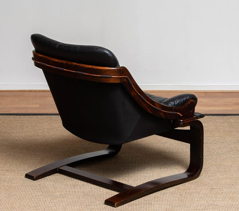 1970's Black Leather Club / Lounge Chair by Ake Fribytter for Nelo Mobel Sweden In Good Condition In Silvolde, Gelderland