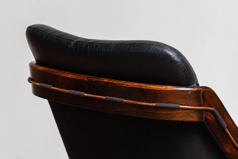 Late 20th Century 1970's Black Leather Club / Lounge Chair by Ake Fribytter for Nelo Mobel Sweden