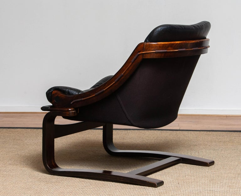 1970's Black Leather Club / Lounge Chair by Ake Fribytter for Nelo Mobel Sweden 1