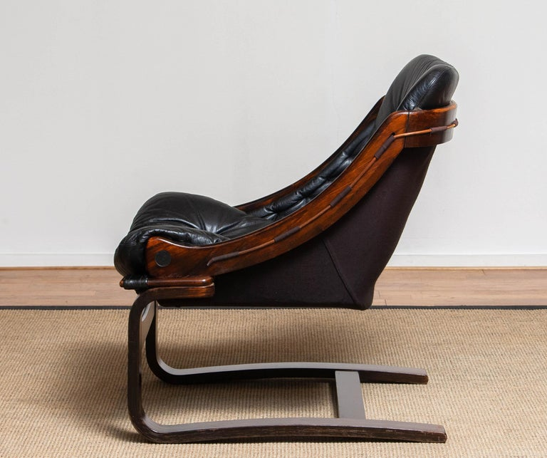 1970's Black Leather Club / Lounge Chair by Ake Fribytter for Nelo Mobel Sweden 2