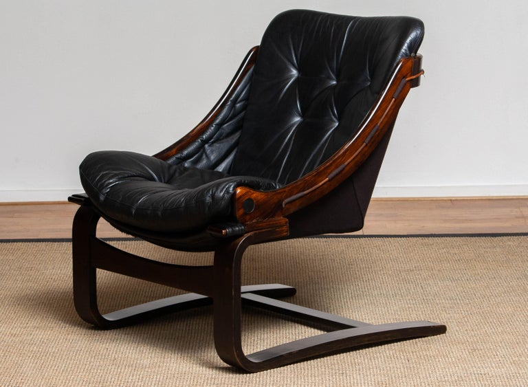 1970's Black Leather Club / Lounge Chair by Ake Fribytter for Nelo Mobel Sweden 3