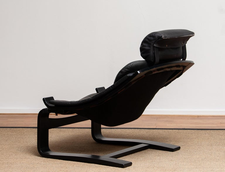 1970s, Black Leather Club Lounge Chair by Ake Fribytter for Nelo, Sweden 4